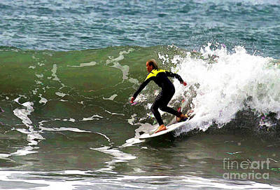Digital Art - California Surfer by Waterdancer