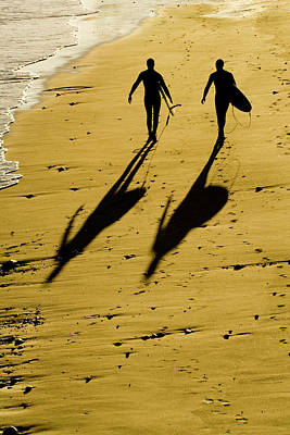 Photograph - California Surfers On The Beach by Sharon Foelz