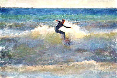 Surf Lifestyle Digital Art - California Surfing by Danuta Bennett