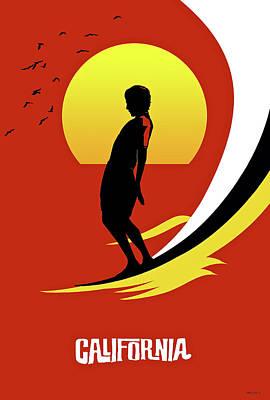 Surfboard Mixed Media - California, Surfing Poster Art by Thomas Pollart