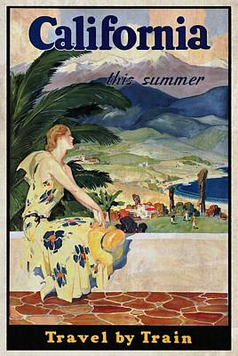 California This Summer - Travel By Train - Vintage Poster Vintagelized Art Print