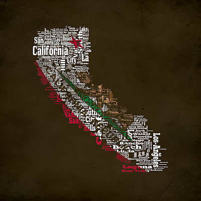 Eureka Mixed Media - California Typographic Map 1d by Brian Reaves