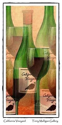 California Vineyard Wine Bottle And Glass Art Print by Terry Mulligan
