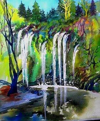 Painting - California Water Fall by Esther Woods