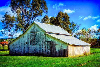 Weatherworn Photograph - California White Barn by Garry Gay