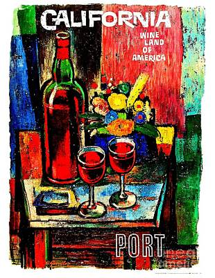 Painting - California Wine Board 1950s Wine Land Of America Number 3 by Peter Gumaer Ogden Collection