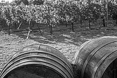 Photograph - California Wine Country Wine Barrels Sonoma Valley Black And White by Toby McGuire
