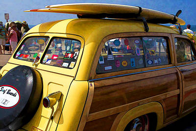 Digital Art - California Woodie by Waterdancer