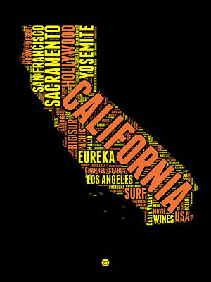 California Word Cloud Map 1 Art Print by Naxart Studio