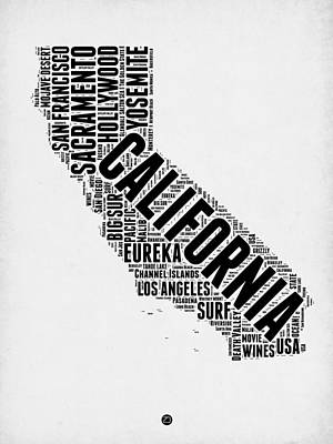 San Francisco Digital Art - California Word Cloud Map 2 by Naxart Studio