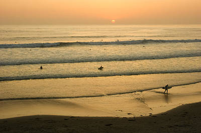 Photograph - Californian Gold - Sunset Beach Waves And Surfers - Oh So California by Georgia Mizuleva
