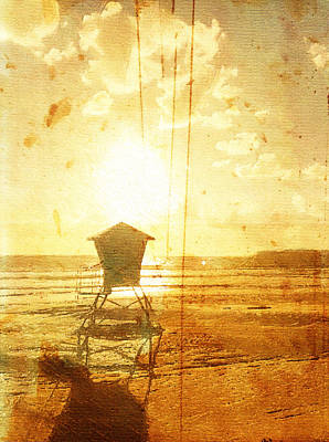 Digital Art - Californian Lifeguard Cabin by Andrea Barbieri