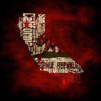 Eureka Mixed Media - Californiatypographic Map 1c by Brian Reaves