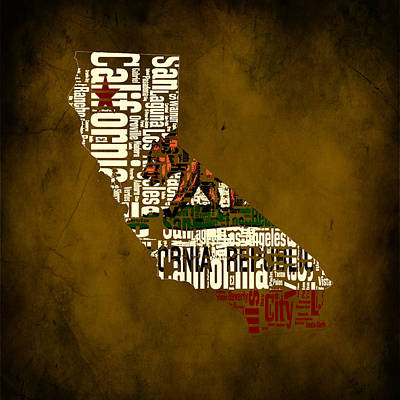 Eureka Mixed Media - California Typographic Map 2a by Brian Reaves