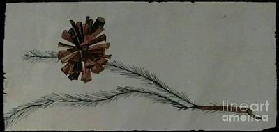 Pine Cones Drawing - Caligarphy Pine Cone by Kirk Wieland