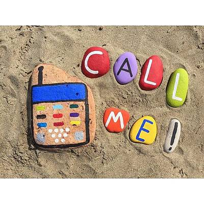 I Phone Photograph - Call Me ! - Your Name On Stones Price by Adriano La Naia