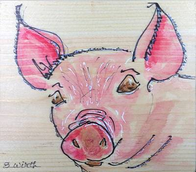 Piggies Painting - Call Me Miss Piggy --- Please by Barbara Wirth