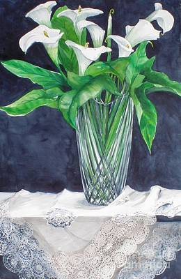 Calla Lilies And Lace Art Print