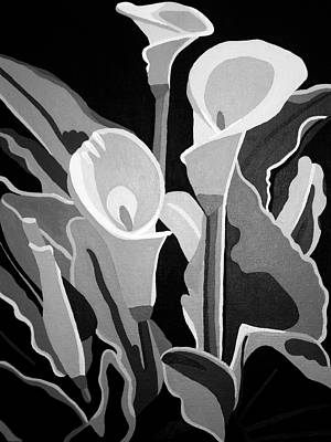Painting - Calla Lilies Bw by Angelina Vick