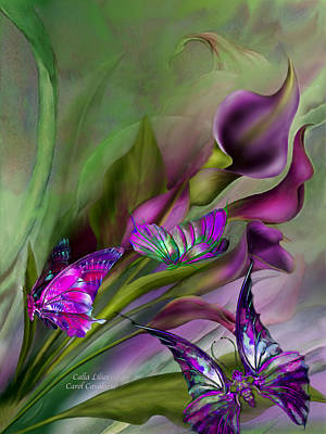 Romantic Art Mixed Media - Calla Lilies by Carol Cavalaris