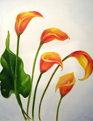 Painting - Calla Lilies by Carol Sweetwood