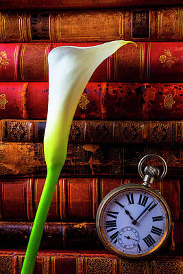 Novel Photograph - Calla Lily And Pocket Watch by Garry Gay