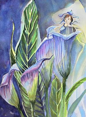 Make Believe Painting - Calla Lily Fairy by Mindy Newman