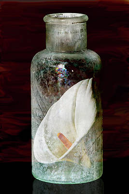 Art Print featuring the photograph Calla Lily In A Bottle by Phyllis Denton