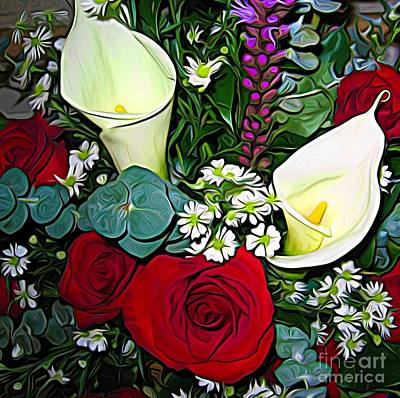 Photograph - Calla Lily Roses Liatris Daisy Bouquet Expressionist Effect by Rose Santuci-Sofranko