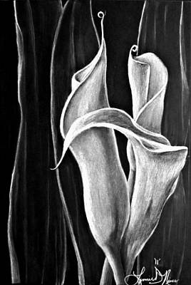 Lillies Drawing - Callas Lilies Trio by Lonnie Niver