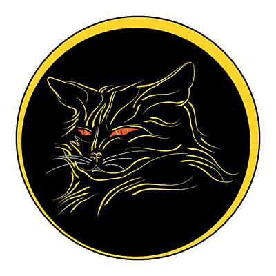 Digital Art - Calligraphic Black Cat And Moon by MM Anderson
