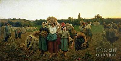 Farm Scene Painting - Calling In The Gleaners by Jules Breton