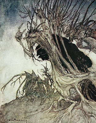 Poem Drawing - Calling Shapes And Beckoning Shadows Dire by Arthur Rackham