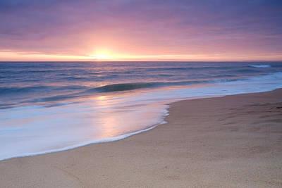 Calm Beach Waves During Sunset Art Print