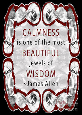 Typographic Drawing - Calm Beauty Abstract Inspirational Art By Omashte by Troy McClain
