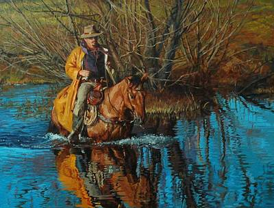 Pond Horses Painting - Calm Crossing by Jim Clements