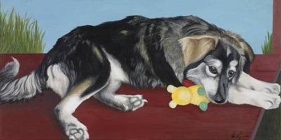 Dog And Toy Painting - Calm Day by Nicole Williams