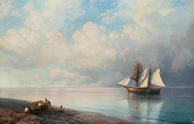 Russian Art Painting - Calm Early Evening Sea by Ivan Aivazovsky