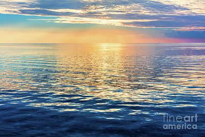 Photograph - Calm Ocean At Sunset. Dramatic Sky by Michal Bednarek