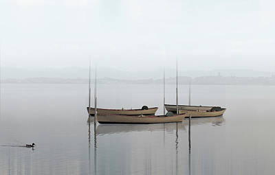 Calm Peace Full Fishing Boats In The Bay Art Photo Art Print by Wall Art Prints