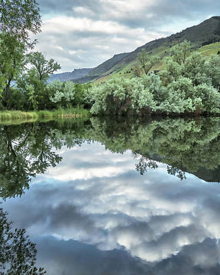Photograph - Calm Pond - Cloud Reflections by Jay Blackburn