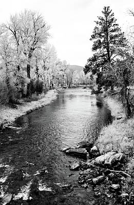 Photograph - Calm River Black And White by Athena Mckinzie