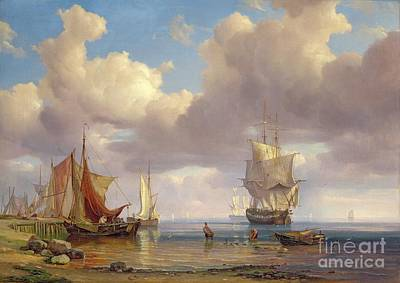 Harbor Painting - Calm Sea by Adolf Vollmer