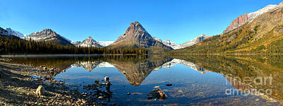 Photograph - Calm Two Medicine Lake Panorama by Adam Jewell