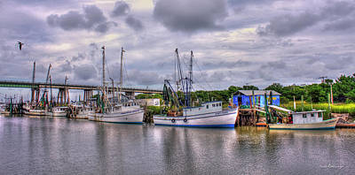 Calm Waters Shrimp Boats Tybee Island Georgia Art Art Print by Reid Callaway
