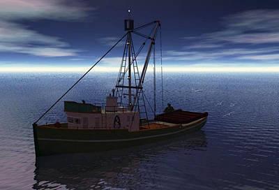 Night Fishing Digital Art - Calmness By Night by Julie Grace