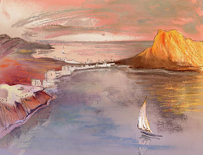 Beach Drawing - Calpe At Sunset by Miki De Goodaboom
