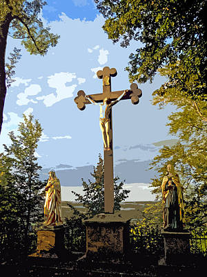 Art Print featuring the photograph Calvary Group - Parkstein by Juergen Weiss
