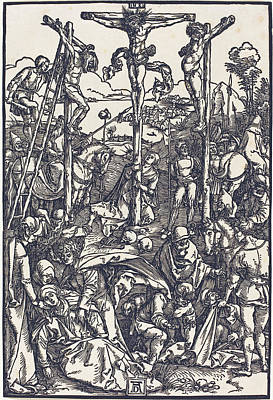 Digital Art - Calvary With The Three Crosses by Albrecht Durer
