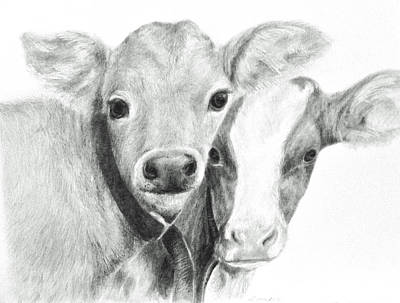 Art Print featuring the drawing Calves by Meagan  Visser